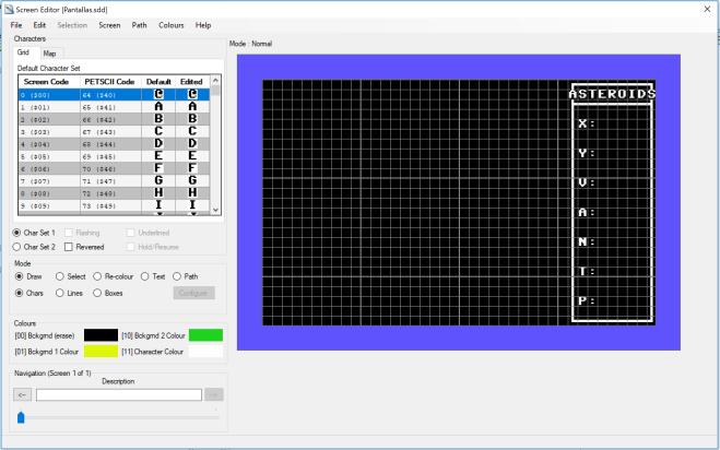 Asteroids - Diseño pantalla
