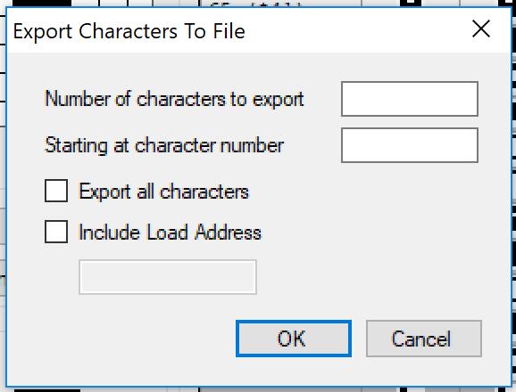 Asteroids - Exportación caracteres