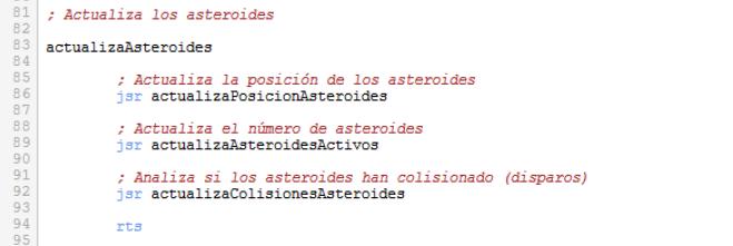 Asteroids - Activa asteroides descomentada
