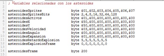 Asteroids - Variables explosión asteroides