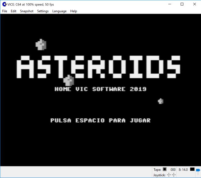 Asteroids - Pantalla con asteroides