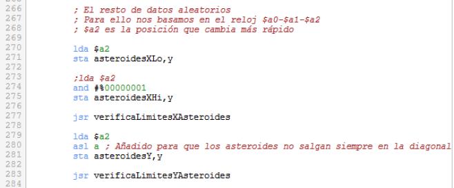 Asteroids - Verificación límites nuevos asteroides